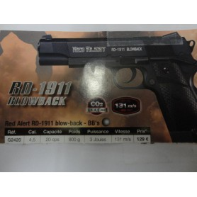 N2409 - PISTOLET A CO2 RED ALERT RD 1911 BLOWBACK- CAL  4,5  - NEUF!!!!!